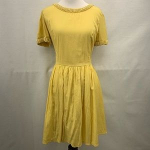 Elegant Yellow Pearl Trimmed Dress | Ark & Co.